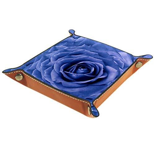 XiangHeFu Bandeja de Cuero Fondo Floral Composición de Flores de Rosas Flores Almacenamiento Bandeja Organizador Bandeja de Almacenamiento Multifunción de Piel para Relojes,Llaves,Teléfono,Monedas