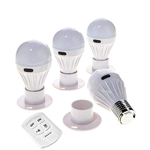 4 Pack - Alltro Bulb Portable Wireless COB LED Light Bulb, Battery Operated LED Night Lights, COB LED Cordless Light Switch, Under Cabinet, Shelf, Closet, Nightlight & Kitchen RV & Boat