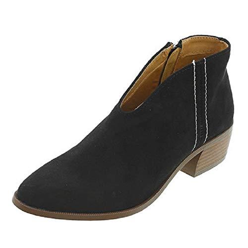 Damskie buty na średnim obcasie zamszowe botki stylowe szpiczasty czubek buty na co dzień wygodne blokowe obcasy botki jesień zima, - Czarny - 37 EU