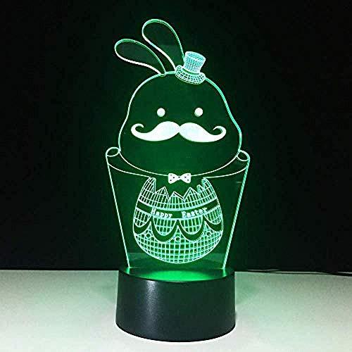 3D Luz De Noche Led Luz de Noche Conejo luz nocturna remoto para sala de estar, bar, regalo juguetes para niños y niñas Con interfaz USB, cambio de color colorido