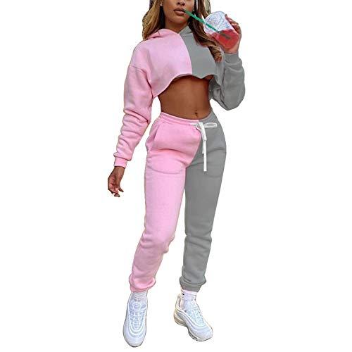 suanret Trainingsanzug Damen Set Winter Tie Dye Langarm T-Shirt Crop Tops Hose Yoga Sportanzug 2 Stücke Set Outfit Loungewear Pyjama Frühlingkleidung (M, K-Rosa)