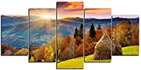寝室のアートポスターのキャンバスの写真5ピース3Dキャンバス絵画夕日のシーンのレイアウトで森の風景