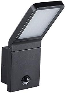 Spot LED BARCELONA IP44 lámpara para exteriores fabricada en aluminio de alta calidad / 9W, 4000K - blanco neutro, negro (con detector de movimiento)