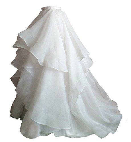 Izanoy Damen Lange Retro Maxi Organza Rock Brautkleider Unterrock Überrock Weiß XXX-Large