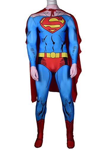 NVHAIM Adulto superhroe Adulto Cosplay Traje con Manto, nios Superman Acero Cuerpo cos Tiro el Cuerpo Padre-nio Rendimiento Ropa emisos Traje Battle Traje 3D impresin,Men XL