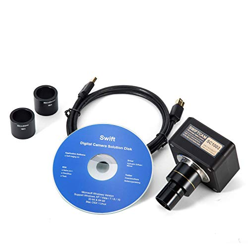 Swiftcam 10 Megapixel Camera for Microscopes, with Reduction Lens, Calibration Kit, Eyetube Adapters, and USB 3.0 Cable, Compatible with Windows/Mac/Linux