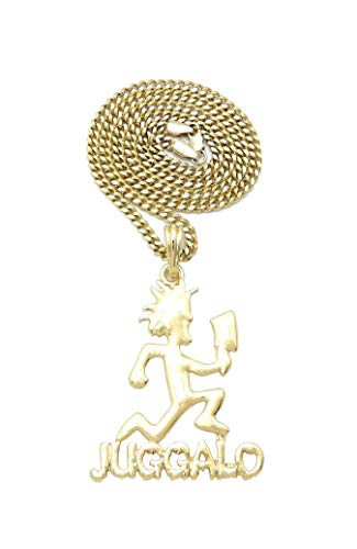 """Juggalo Hatchetman with Cleaver Goldtone Pendant 24"""" Various Chain Necklace XSP796G (3mm/20 Cuban Chain)"""