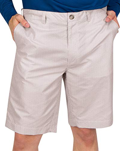 Three Sixty Six Seersucker Golf Short for Men - Quick Dry Casual Walk Shorts - 10 Inch Inseam Khaki