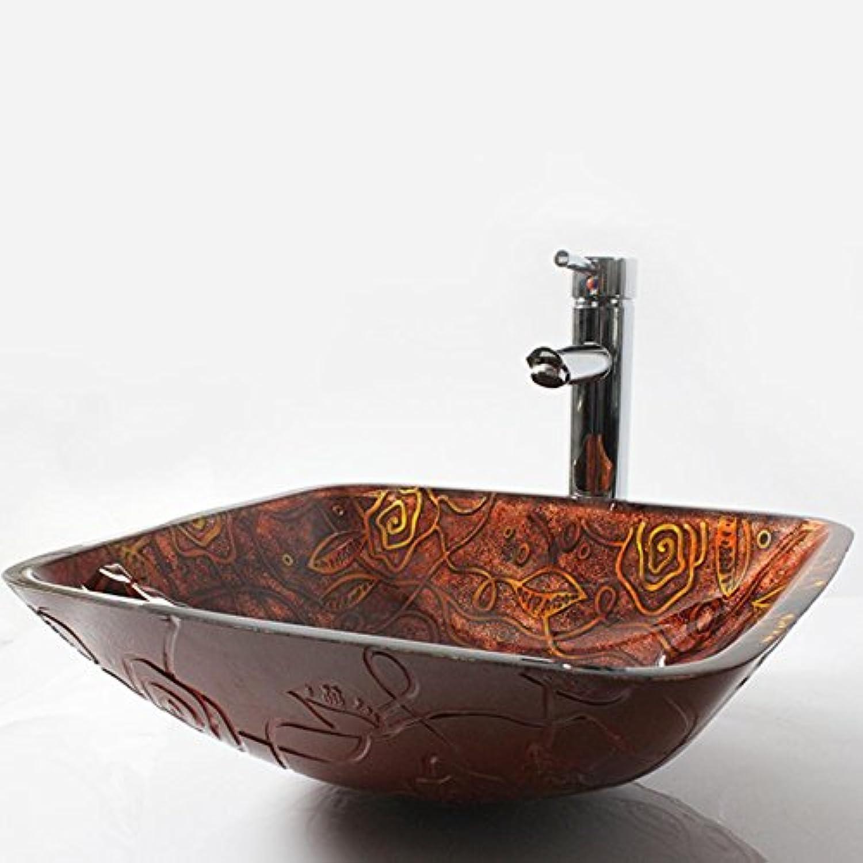 Y & M Spülbecken des Vase von Glas eckig mit Ablaufgarnitur Wasserhahn Wasserfall pop up und Montagering