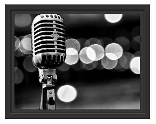 Picati oude retro-microfoon in schaduwvoeg fotolijst | kunstdruk op hoogwaardig galeriekarton | hoogwaardige canvasfoto alternatief 38x30