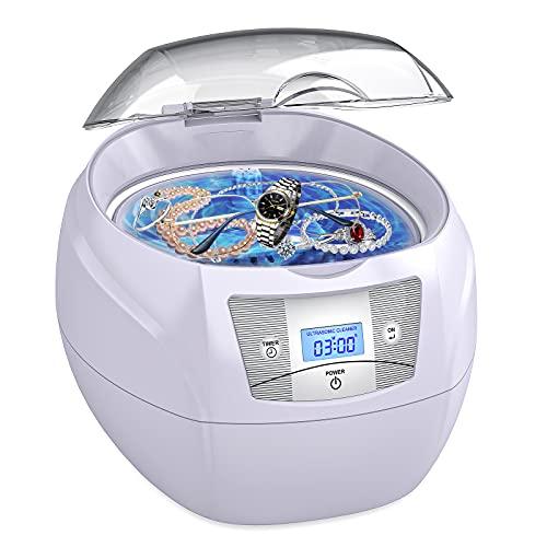 Limpiador Ultrasónico Esolom Limpiador Ultrasónico Dispositivo Ultrasónico 35W 40 kHz Limpiador Ultrasónico Digital Limpiador con 5 Modos de Tiempo para el Hogar Gafas Joyas Relojes Prótesis Dental