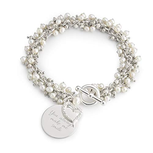 Things Remembered Personalized Pearl Flutter Bracelet with Engraving Included