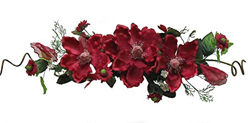 """Wholesale Silk Floral 26"""" Crinkle/Sheer Magnolia Swag for Anniversary Wedding and Special Events Indoor & Outdoor Home Garden, Mother's, Christmas Day Wall décor, 5-in, Burgundy"""