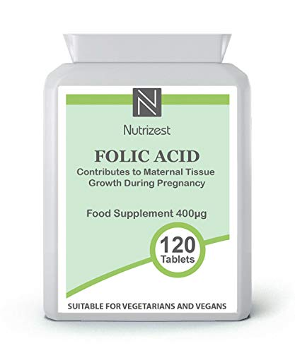 Folic Acid Tablets 400 mcg -120 Vegan Tablets - 4 Month Supply - Pregnancy Care - Normal Function of The Immune System & Supports Development of Your Unborn Child I Made in The UK I Nutrizest