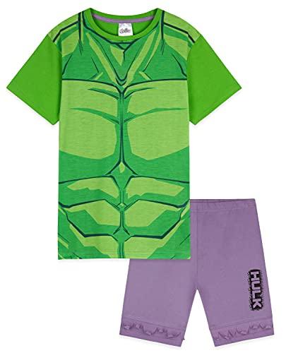 Marvel Pijama para niños, pijama de manga corta Hulk Captain America, verde, 3-4 Years