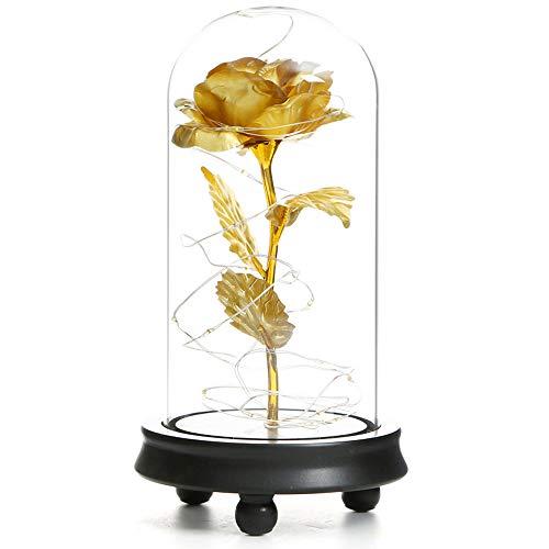 Valentijnsdag roos bloem lamp bladgoud glas lampenkap LED warm licht met handgemaakte kunstbloemen geschikt voor bruiloft decoratie samen DIY geschenken voor koppels jubileum