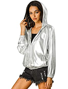 Allegra K Women s Holographic Shiny Long Sleeve Zipper Hooded Metallic Jacket Medium Silver