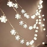 JCTek Guirnalda de luces LED con diseño de copo de nieve de Navidad, 6M 40 LED, funciona con pilas, para árbol de boda, jardín, interior, exterior, fiesta de cumpleaños, decoración de fiesta(blanco)