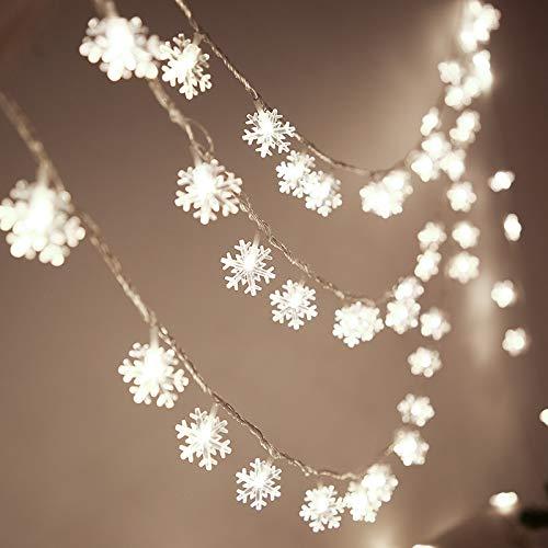 JCTek Guirnalda de luces LED con diseño de copo de nieve de...