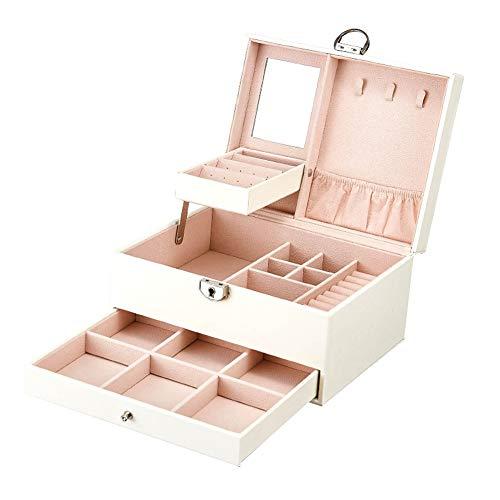 Anan Grande boîte à bijoux pour femme en cuir avec miroir et serrure pour bagues, bracelets, boucles doreilles, colliers (blanc)