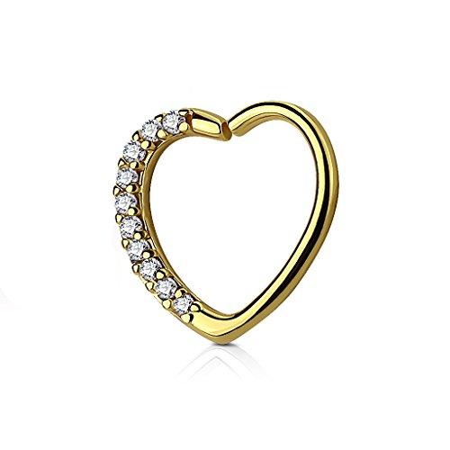 Kultpiercing - Helix Piercing - Herz mit Kristallen - Tragus Septum Ear Cartilage Ohrpiercing Daith Hoop Ring - Gold