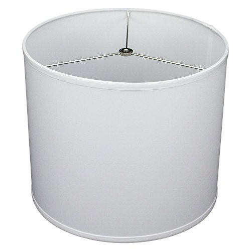 FenchelShades.com 14' Top Diameter x 14' Bottom Diameter 12' Height Cylinder Drum Lampshade USA Made (Linen White)