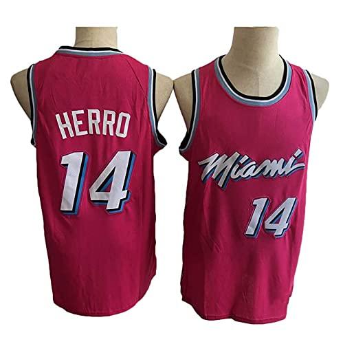 Jerseys de Baloncesto de los Hombres, NBA Miami Heat 14# Tyler Herro Capacitación de Baloncesto Ropa Deportiva y de Ocio Secado rápido Vestido sin Mangas Transpirable,A,XXL