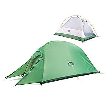 Naturehike Cloud-up 1 Tente de Camping Ultra-légère pour 1 Personne - Tente de Randonnée Double Couche Imperméable 4 Saisons(Vert)