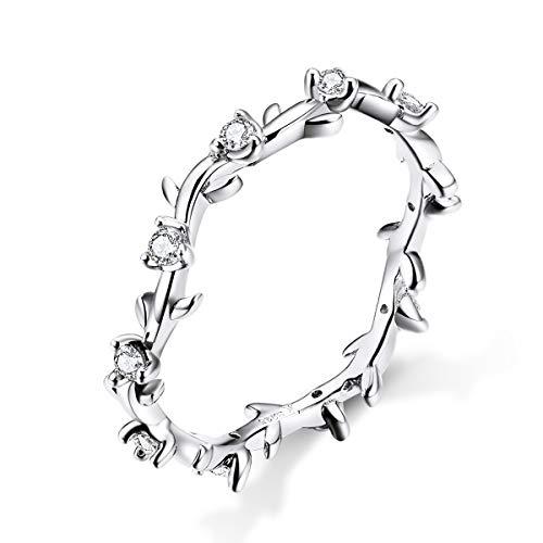 Anelli di eternità di fidanzamento matrimonio ramo argento fiore argento 925 per donne ragazze