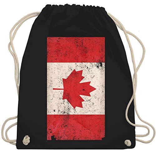Shirtracer Fussball EM 2021 Fanartikel Kinder - Kanada Flagge Vintage - Unisize - Schwarz - flagge kanada - WM110 - Turnbeutel und Stoffbeutel aus Baumwolle