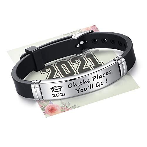 SAM & LORI Inspirierendes Armband für Ihn, College, Senioren, High School, Geschenk, graviert mit Grad Kappe, personalisierbar, verstellbar, Schmuck Geschenk für Absolventen, Studenten, Metall,