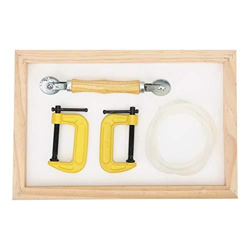Aro de bordado de madera, marco de bordado de madera de haya Accesorio de costura de estante de punto de cruz de escritorio con 2 piezas G Abrazaderas Aros de bordado Aro de punto de cruz de bambú
