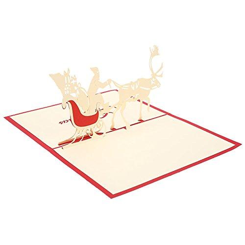 JWBOSS Christmas Greeting Cards, 3D Pop Up Christmas Cards, Christmas Cards, Xmas Tree Cards with Envelopes, Handmade, Reindeer Gift Cards, Used, Christmas Greetings