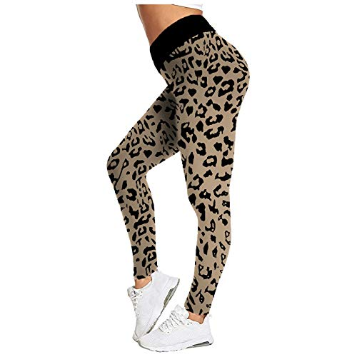 Pudyor Pantalones Deportivos Leopardo Leggins Push up de Cintura Alta Pantalón de Deporte Transpirables Elásticos Mallas de Yoga Fitness Leggings Ideal para Correr Training Gym
