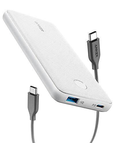 Anker PowerCore Slim 10000 PD Arctic White, 10000mAh Portable Charger USB-C Power Delivery (18W) Power Bank for iPhone 8/8+/X/XS/XR/XS Max, Samsung Galaxy S10, Pixel 3/3XL, iPad Pro 2018, and More