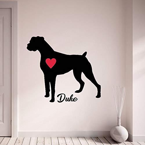 yaonuli Aangepaste naam decal boxer hond gepersonaliseerde naam vinyl rood hart muurschildering huisdecoratie