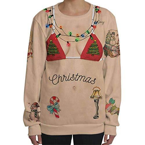 Moonuy Männer Langarm Pullover Mann Hoodied Sweatshirt Lustige Weihnachten 3D Brief Print mit Kapuze Pocket Vintage Outwear