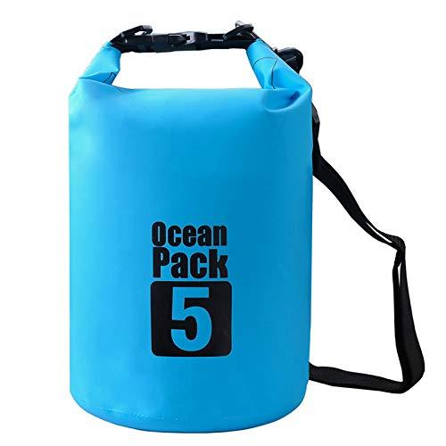 2 L/5 L/10 L/15/20/30 L 500D heavey-duty Bâche PVC Sac étanche Dry Bag Sac pour kayak/bateau/Canoeing/Pêche/Camping/Piscine/Rafting/Snowboard (Bleu clair, 2L)