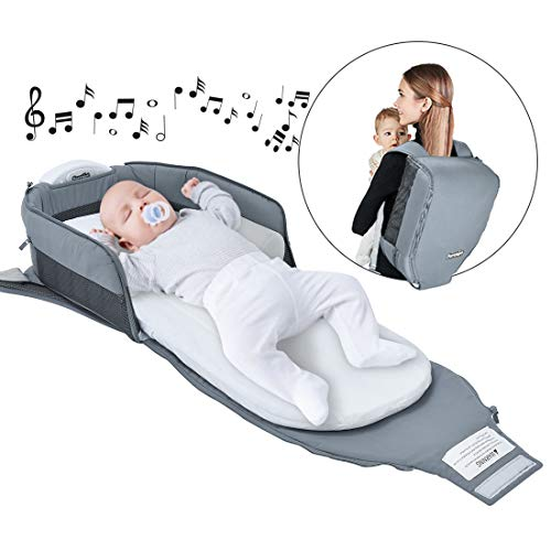 4 in 1 | Portable Bassinet | Foldable Baby Bed | with Light and Music Baby Lounger Travel Crib Infant Cot Newborn As A Diaper Bag Changing Station Seat Tummy Time Folding Crib Nursery