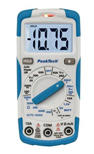 PeakTech 1075 - Multímetro Digital NCV Cat III con Pantalla LCD, Probador de Batería, Multímetro de Mano, Medición de Corriente, Probador de Continuidad, Voltímetro - Máx.600 V