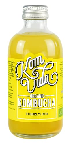 Té kombucha. Komvida. Kit sabor jengibre y limón. 12 botellas de 250 ml. Envío en frío.