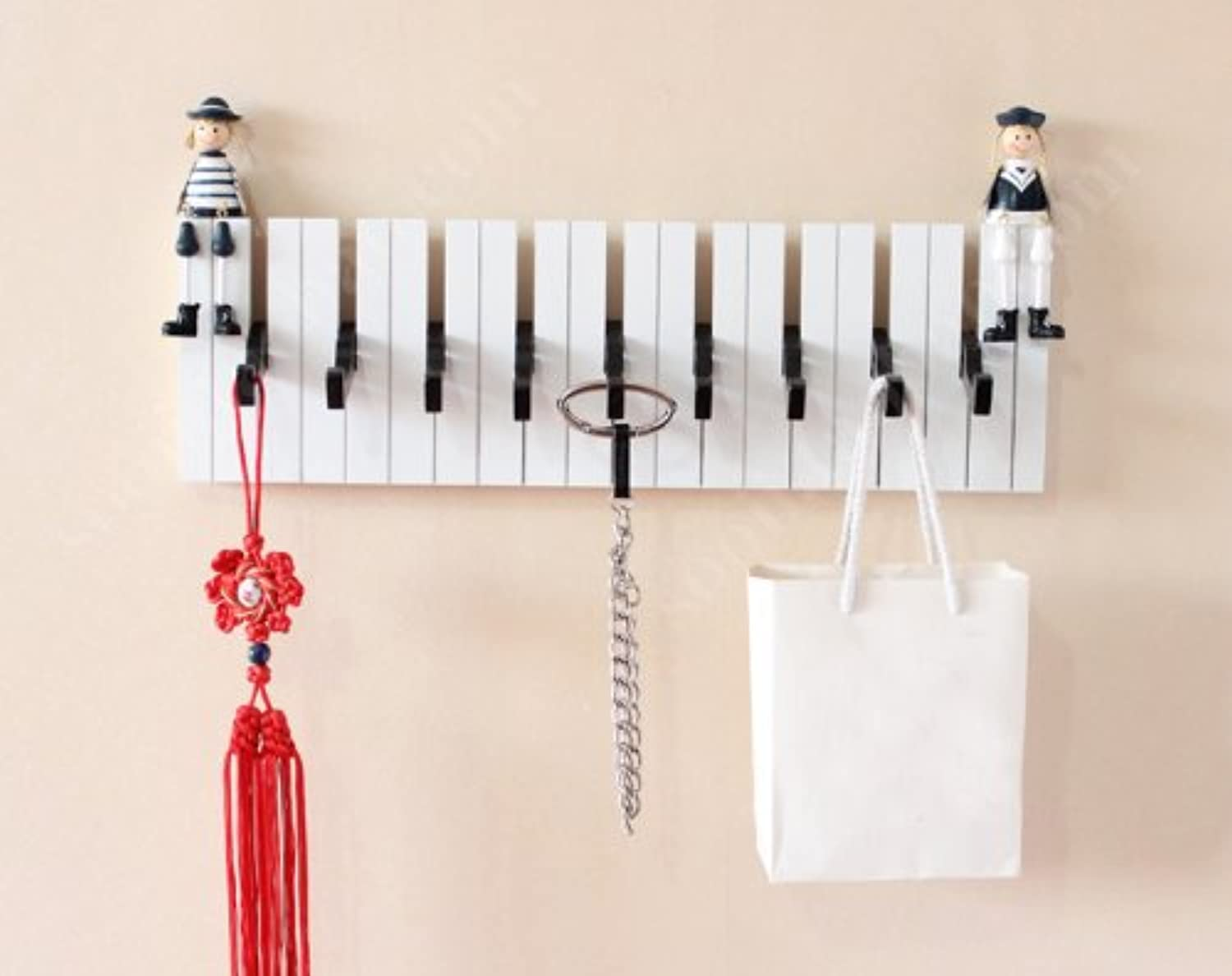 Piano Paint Hook -9 Hooks Wall Hangings Eureopean Style Wood Wall Shelf Creative Home Decorations (White)