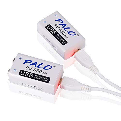 PALO 2 Pack 9V Batería recargable USB 650mAh Li-ion con 2 en 1 Cable USB para alarma de humo de micrófono de teclado