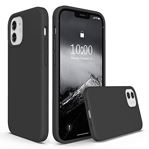 SURPHY Funda Compatible con iPhone 12 Mini Silicona Case, Carcasa iPhone 12 Mini Case, Fundas Silicona Líquida Protección con Forro Microfibra, Compatible con iPhone 12 Mini 5.4 Pulgadas, Gris Oscuro