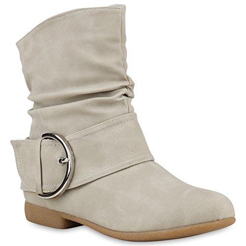 Damen Schlupfstiefel Wildleder-Optik Stiefel Schnallen Boots Stiefeletten Schuhe 122538 Creme 38 Flandell