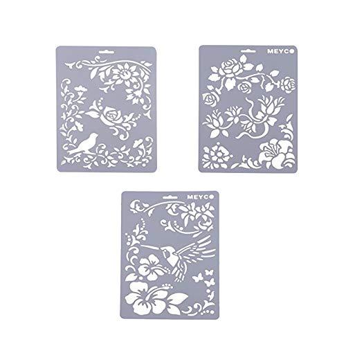 Plantillas de plástico para manualidades, 3 unidades, diseño de flores, reutilizables, para pintar paredes y paredes, 26 x 17,3 cm