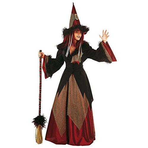 costume lungo strega con maniche tromba e un cappello da strega punte decorate - M