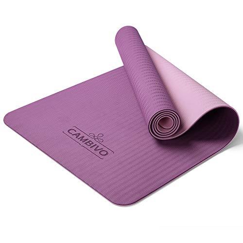 CAMBIVO Yogamatte rutschfest, Gymnastikmatte standard(173cm x 61cm x 6mm), Fitnessmatte, Sportmatte aus TPE für Reisen,Sport, Yoga, Pilates, Workout, Zuhause