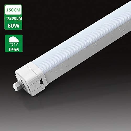 LED Feuchtraumleuchte Wannenleuchte 60W 150CM für Garage Lager Feuchtraum Garten, Tonffi LED Werkstattlampe Feuchtraumleuchtung Innen- und Außenbeleuchtung, Wasserfest IP66 Tageslicht 4000K-4500K