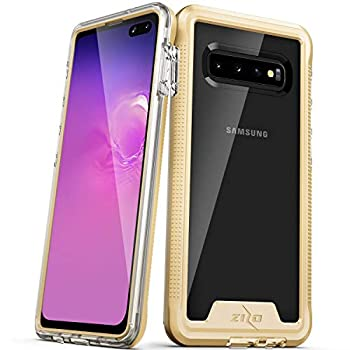 ZIZO ION Series for Samsung Galaxy S10 Plus Triple Layered Hybrid Case Military Grade Drop Tested Gold Clear